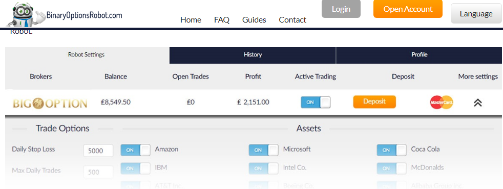 Binary Options Robot Account